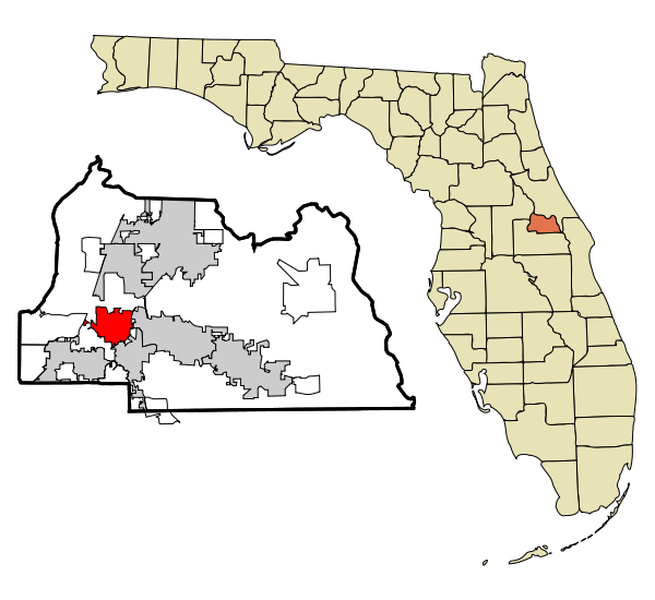 A map with a callout highlighting Seminole county in Florida