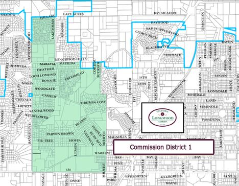 Highlighted portion of Longwood map comprising district 1