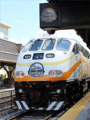SunRail train pulls into the Longwood station.