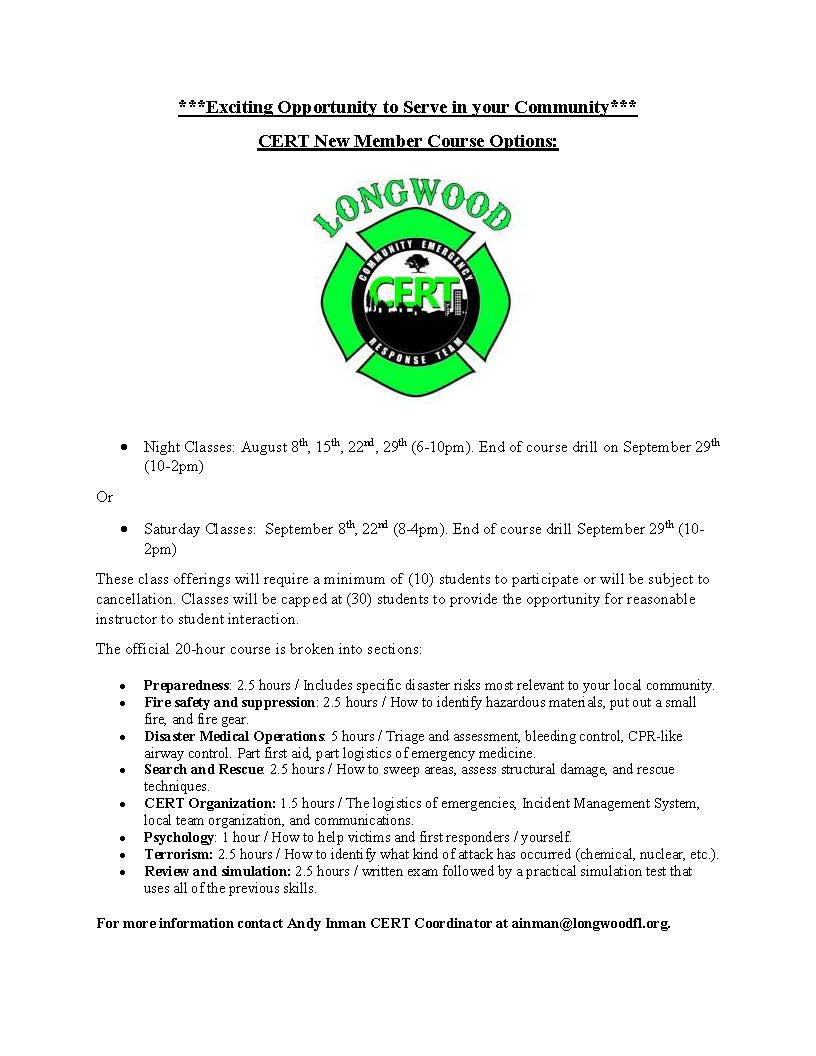 CERT New Member Course Options