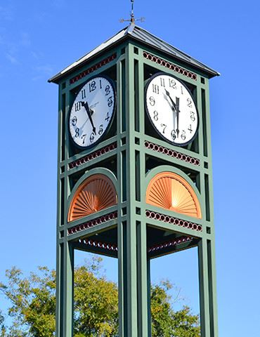 Metal square clocktower